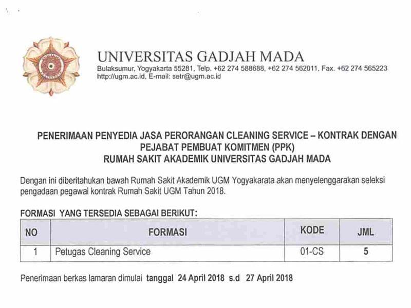Penerimaan Jasa Perorangan Cleaning Service Rumah Sakit Akademik Ugm Yogyakarta